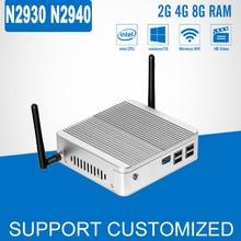 Мини-ПК Celeron N2930 N2940 Quad core Безвентиляторный Windows 10 компьютер Linux мини DDR3 ОЗУ HTPC HDMI Бытовая настольных ПК
