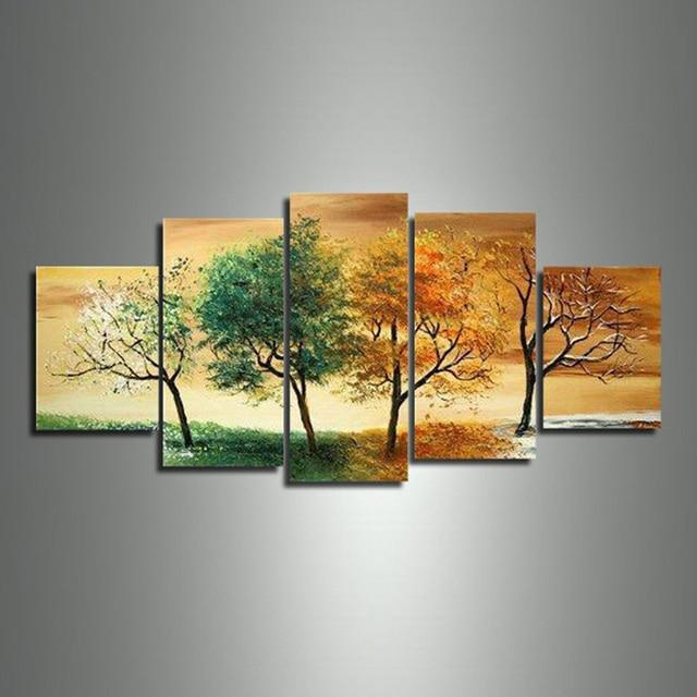 Exceptionnel Hot 4 Saison Arbre Peinture À L'huile 5 pcs Ensemble Sur Toile  MR16