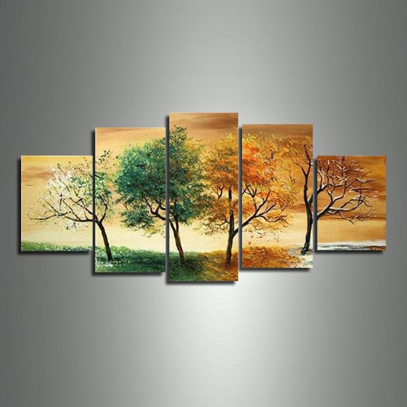 Hot 4 Saison Baum Ölgemälde 5 stücke Set Auf Leinwand Hochwertige Landschaft Moderne Wandbild Für Wohnzimmer Abstrakte Wohnkultur