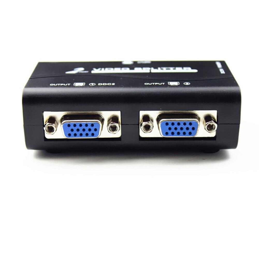 Nouvelle arrivée 1 à 2 ports VGA vidéo splitter duplicateur 1-in-2-out 250 MHz dispositif Bottes Signaux Vidéo 65 m 1920*1440 Résolution