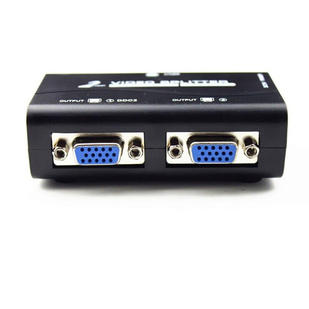 Nueva llegada 1 a 2 puertos VGA video Splitter duplicador 1 en 2 salida 250 MHz dispositivo botas señales de vídeo 65 m 1920*1440 de resolución