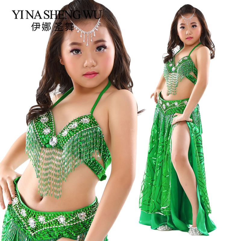 Girls Children Dance Costumes Set Professional Belly Dance Set New Beaded Bra Belt Sequins Skirt Kids Performance Dance Costume