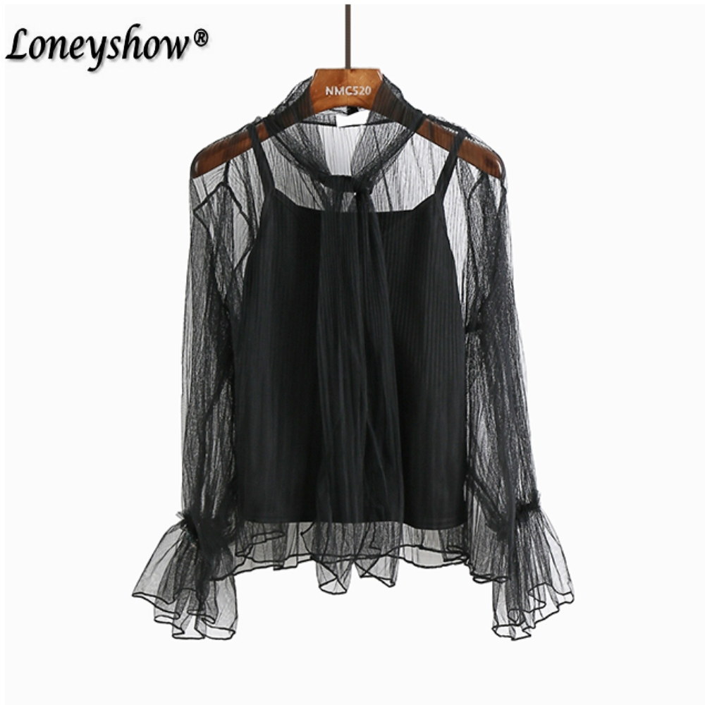 2018 Women Lace Blouse Shirt Elegant Flare Sleeve Long Sleeve Sexy Transparent Shits Casual Stand Chiffon Black White Tops