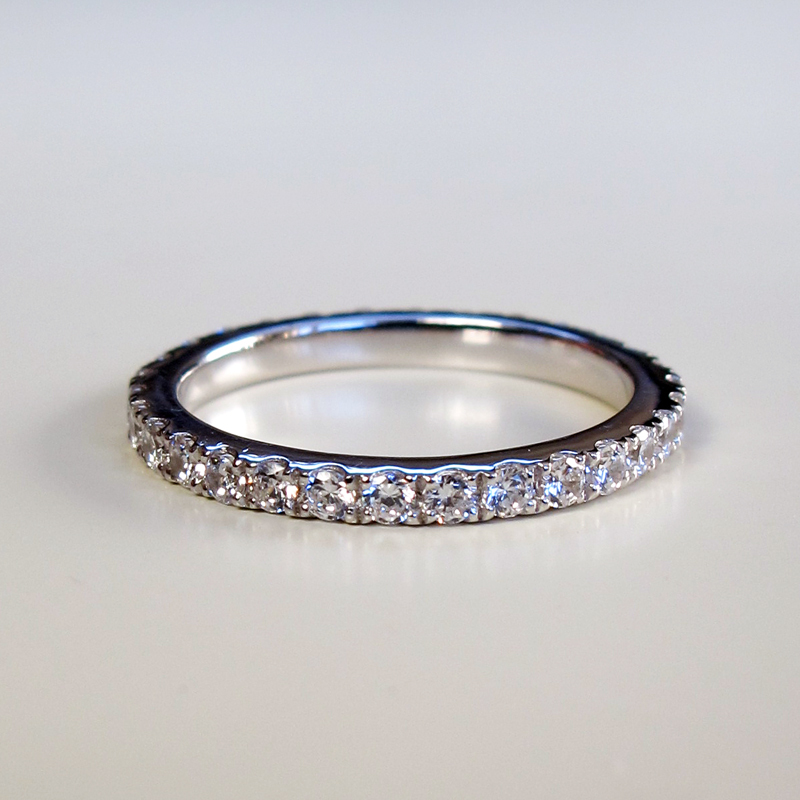 0.25ct D//VVS1 Negative Space Pave Triangular Ring Sterling Silver
