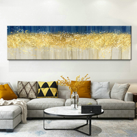 Abstract Bright Gold Drop Blue And Grey Canvas Art Modern Painting Poster Print For LivingRoom Aisle Fashion Artistic Wall Decor