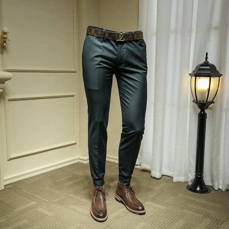 2019 Summer Business Men Formal Suit Pants Wedding Dress Bridegroom Trousers Dark Green Suit Pant 29-36 365kz04