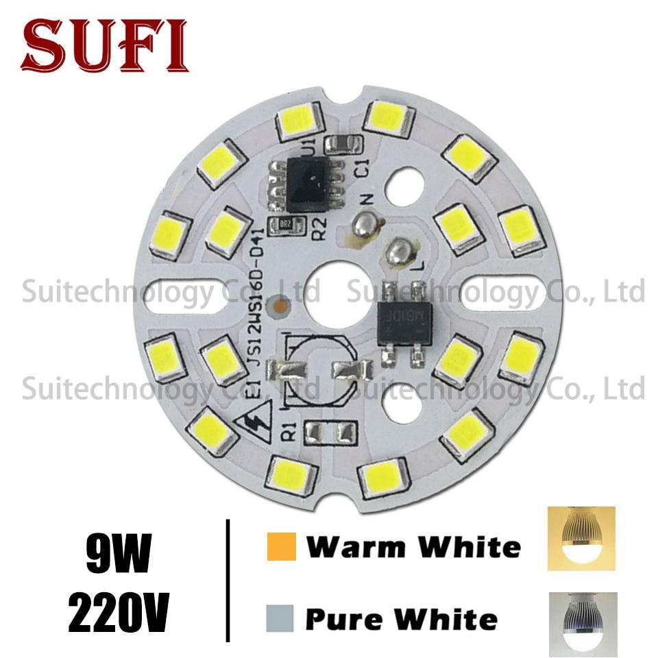 10pcs DIY LED Bulb Lamp SMD 9W 40mm Light Chip AC 220V Input Smart IC LED Bean For Bulb Light Downlight Spotlight SMD2835