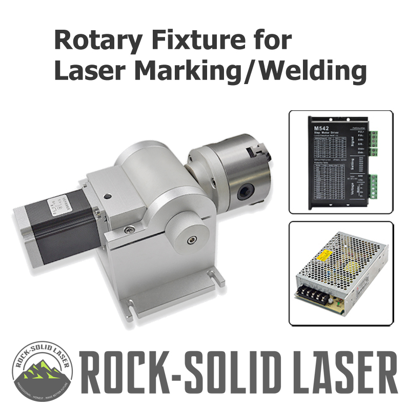 Rotary Fixture Gripper For Laser Marking Welding Machine Parts ring jewelry Rotate Jig shaft with Step Motor Driver Wholesale