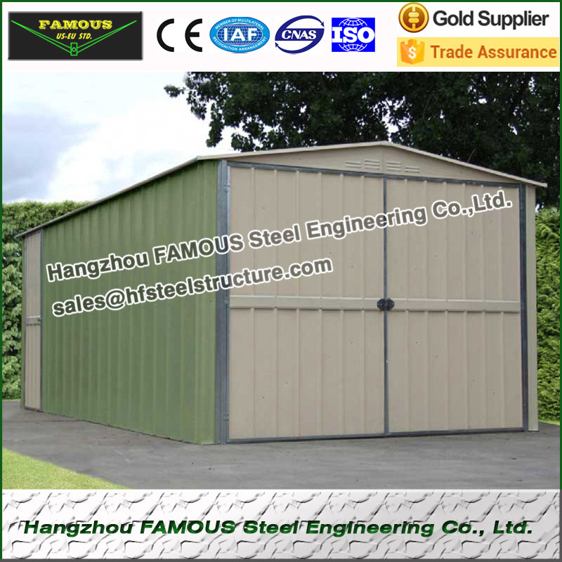 Prefab Metal Garage Used For Carport Or Residence With Customized Dimension
