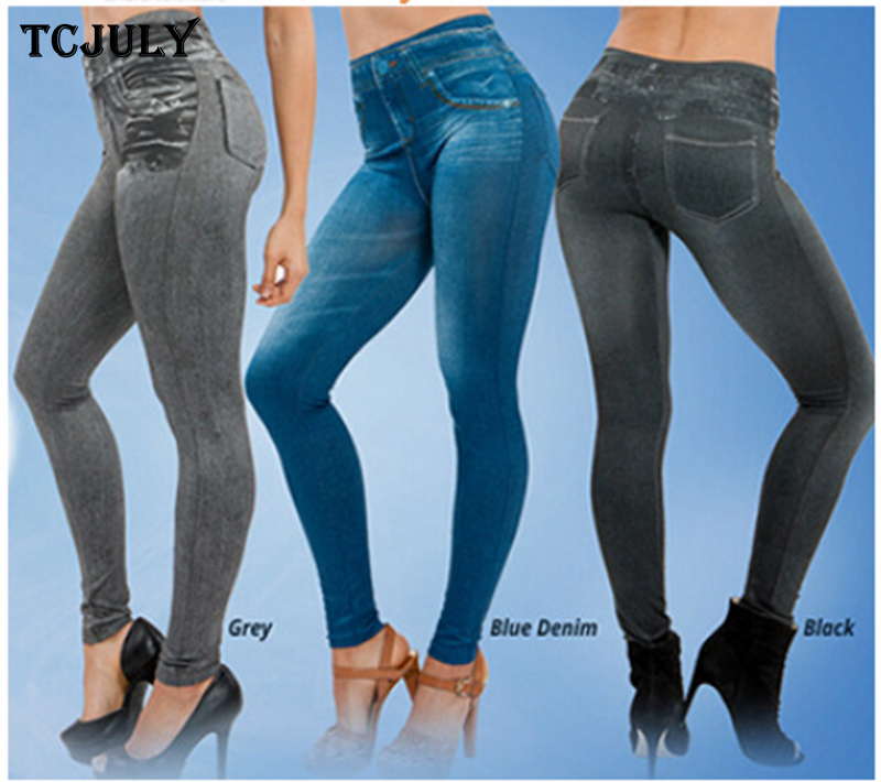 TCJULY Wholesale Seamless Jeggings Jeans For Women High Waist Skinny Push Up Pencil Pants Plus Size S-5XL Stretchy Slim Leggings