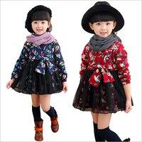 Anlencool crianças inverno meninas novas floral vestido garoto vestido de Princesa borboleta Pequena flor cor de inverno vestido da menina das crianças