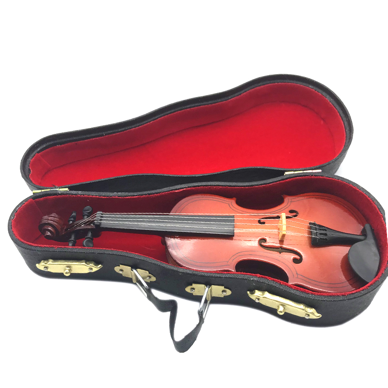 US $8 02 19% OFF|Mini Violin Upgraded Version With Support Miniature Wooden  Musical Instruments Collection Decorative Ornaments Model-in Guitar Parts