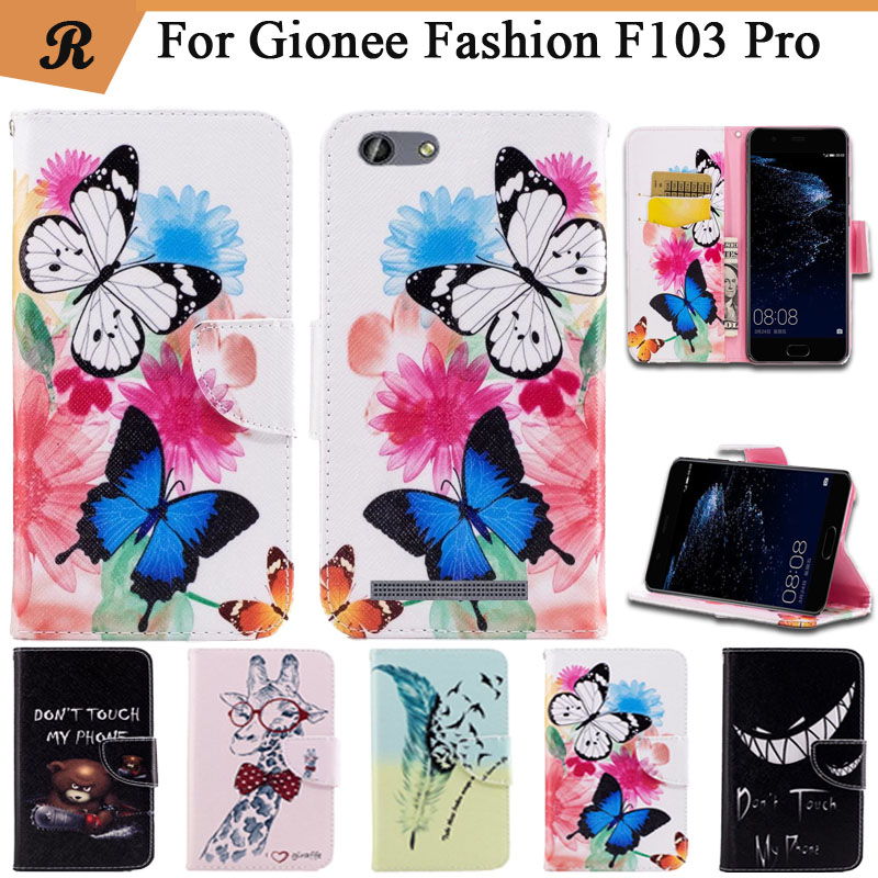 Painted Wallet Flip Case For <font><b>Gionee</b></font> Flashion <font><b>F103</b></font> <font><b>Pro</b></font> PU leather Card Slot Stand bag High Quality Cover fundas with Strap image