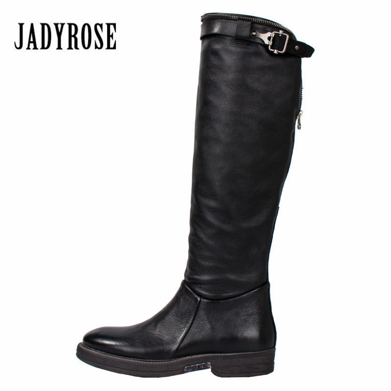 Jady Rose Black Women Knee High Boots Back Zipper Genuine Leather Riding Boots Flat Rubber Shoes Woman Platform High Botas MujerJady Rose Black Women Knee High Boots Back Zipper Genuine Leather Riding Boots Flat Rubber Shoes Woman Platform High Botas Mujer