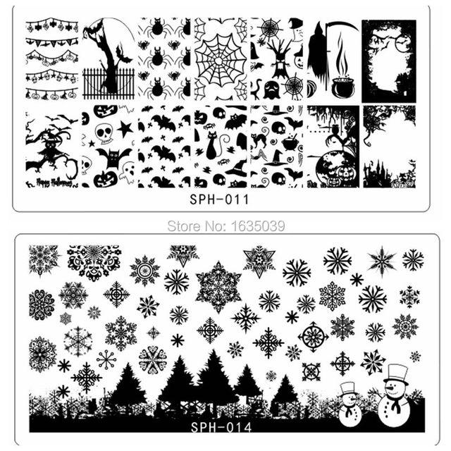 Halloween Plate Christmas Nail Art Stamping plate Nail Template ...