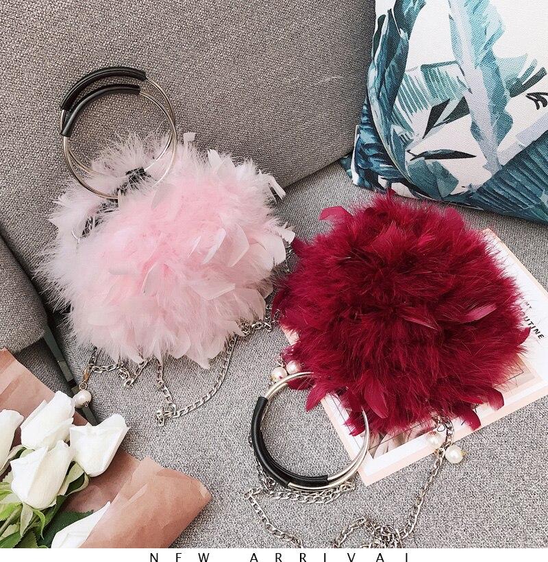 Ginhae luxo bolsa de avestruz pena feminina