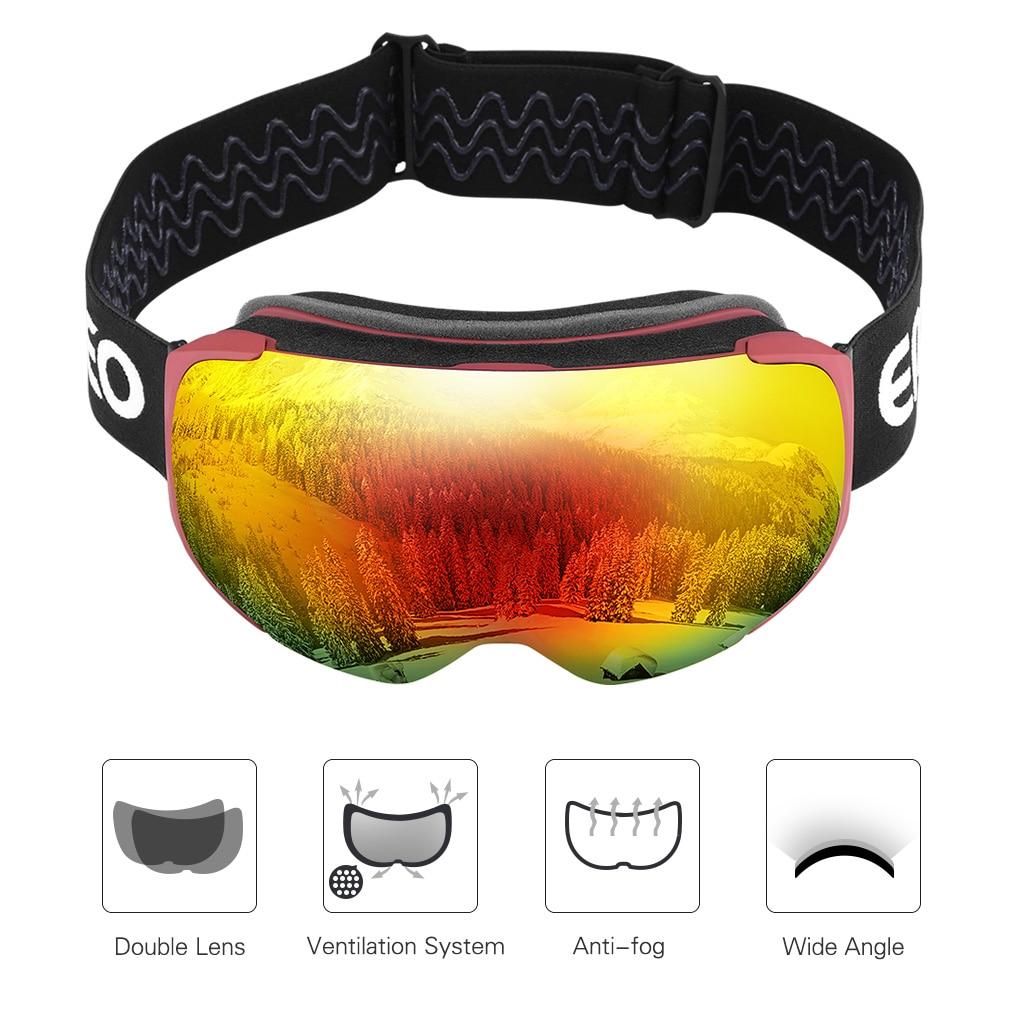 enkeeo occhiali da sci  Enkeeo Occhiali Da Sci Doppio Strato UV400 Anti Fog Lente Staccabile ...