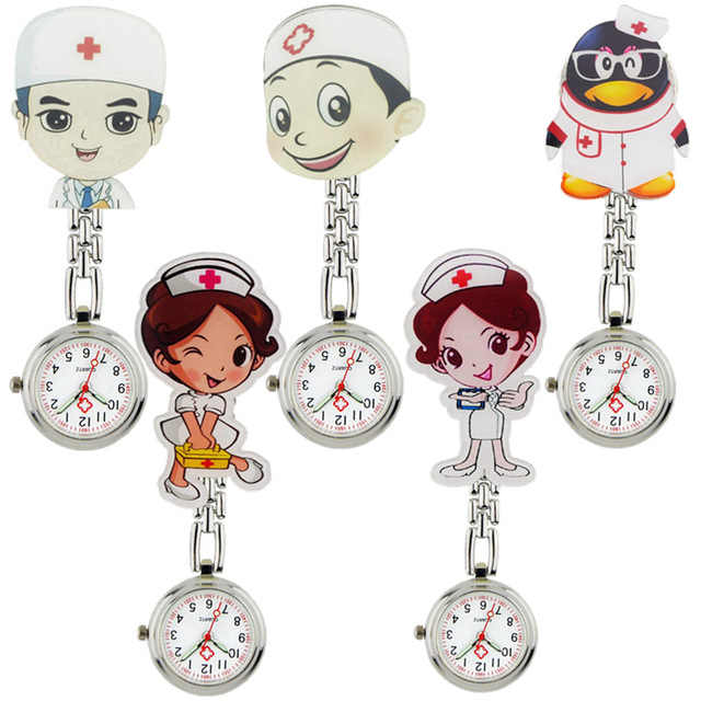 Lovely cartoon women men ladies nurse watches unisex doctor medical FOB pocket watches clip hang quartz watches hospital watches