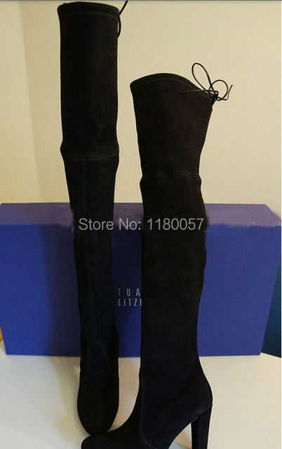 Gray/Black Chunky Heel Suede Leather Thigh High Boots Women Over The Knee Hot Sell 2014 Fashion Vintage Boots High Quality