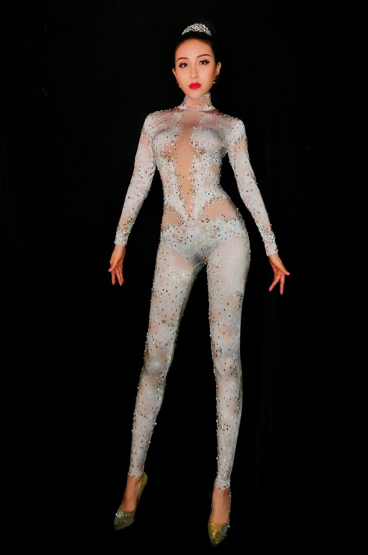 2019 femmes nouveau dentelle strass combinaison Leggings Stretch Sexy Costume discothèque fête porter danse body mode barboteuses-in Combinaisons from Mode Femme et Accessoires on AliExpress - 11.11_Double 11_Singles' Day 1