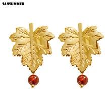 SANSUMMER 2019 New Hot Copper Body Maple Leaf Red Beads Trendy Elegant Drop Earrings For Women Casual Jewelry 7113h