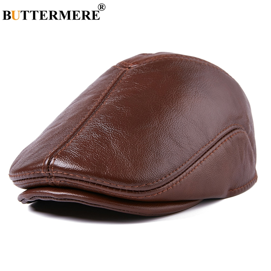 BUTTERMERE Genuine Leather Flat Caps Berets Men Brown Duckbill Hat Ivy Male Real Leather Vintage Autumn Winter Cabbie Caps 2019