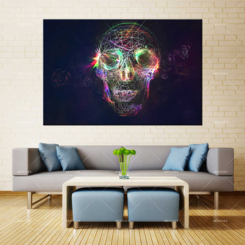 Artcozy Canvas Painting Wall Art Skull Head Spray Printing Waterproof Ink Home Decor