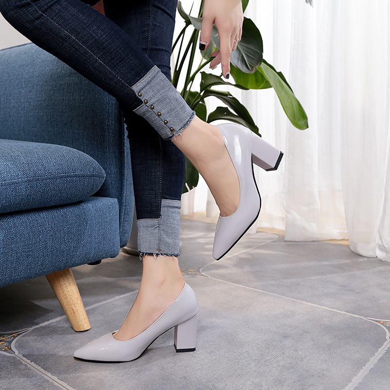 18 New Women Pumps Black High heels 7.5cm Lady Patent leather Thick with Autumn Pointed Single Shoes Female Sandals Big 33-43 12
