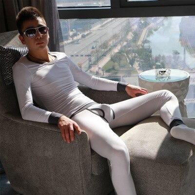 Homme sous-vêtement thermique ensemble modal couleur uni mince long Johns sous-vêtement thermique
