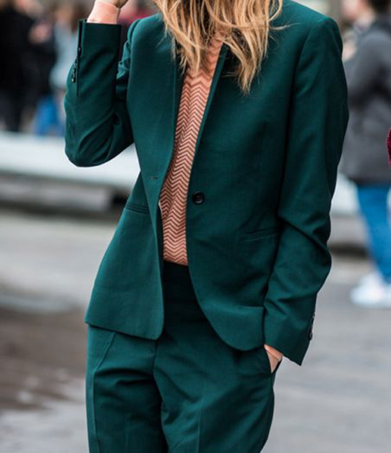 Bespoke Dark Green Jacket and Pants Women Casual Trouser Suit Business Formal Suit Ladies Office Party Outfit 2 Piece W197 green casual lace beaded suit