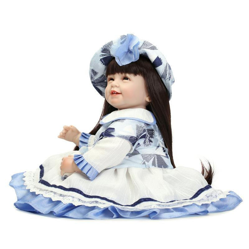 все цены на 22inch Kawaii Princess Dress 55cm Soft Silicone Reborn Dolls Toys Realistic Bebe Reborn Dolls Brinquedos For Baby Chirstmas Gift онлайн
