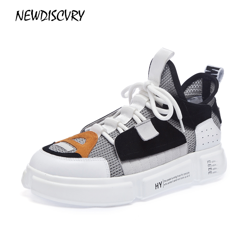 927df15a3a NEWDISCVRY Genuine Leather Mesh Women's Sneakers 2018 Fashion Mixed ...