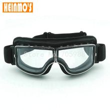 New Style Motorcycle Goggles Pilot Motorbike Goggles Leather Retro Jet Helmet Eyewear For Harley