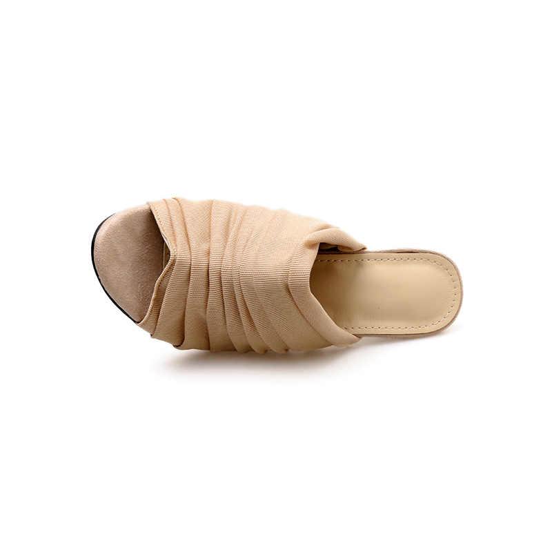 2019 г. летние женские туфли на высоком каблуке 11,5 см со складками на шпильках пикантные женские шлепанцы на каблуке с открытым носком открытые туфли из сетчатого материала