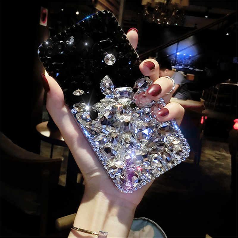 Funda de diamantes de imitación de cristal de lujo para iPhone XS X 8 7 Plus brillo
