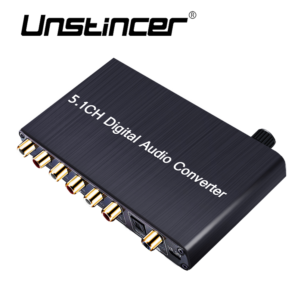 UNSTINCER SPDIF RCA 5.1 Digital Audio Decoder Converter  SPDIF Coaxial Input 3.5mm Output Conversor Digital For PS4 кабели межблочные аудио silent wire digital 5 rca coaxial 2 0m