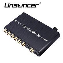 UNSTINCER SPDIF RCA 5.1 Digital Audio Decoder Converter  SPDIF Coaxial Input 3.5mm Output Conversor Digital For PS4
