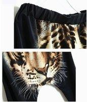 Леди тигр печатных Хип-хоп штаны-шаровары эластичный пояс падения промежность