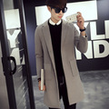 Autumn Winter Men Wool Coats Jackets Single Breasted Turn down Collar  Long Coats Trench Casual Male Coats PGYG108
