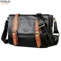 VICUNA POLO Vintage Men S Magnetic Button Open Leather Single Shoulder Strap Back Bag Men Shoulder