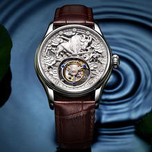 Handmade Lucky Memorial Collection Automatic Tourbillon Manual Mechanical Watch 3D Stereo Engraved  Sapphire Mirror Mens