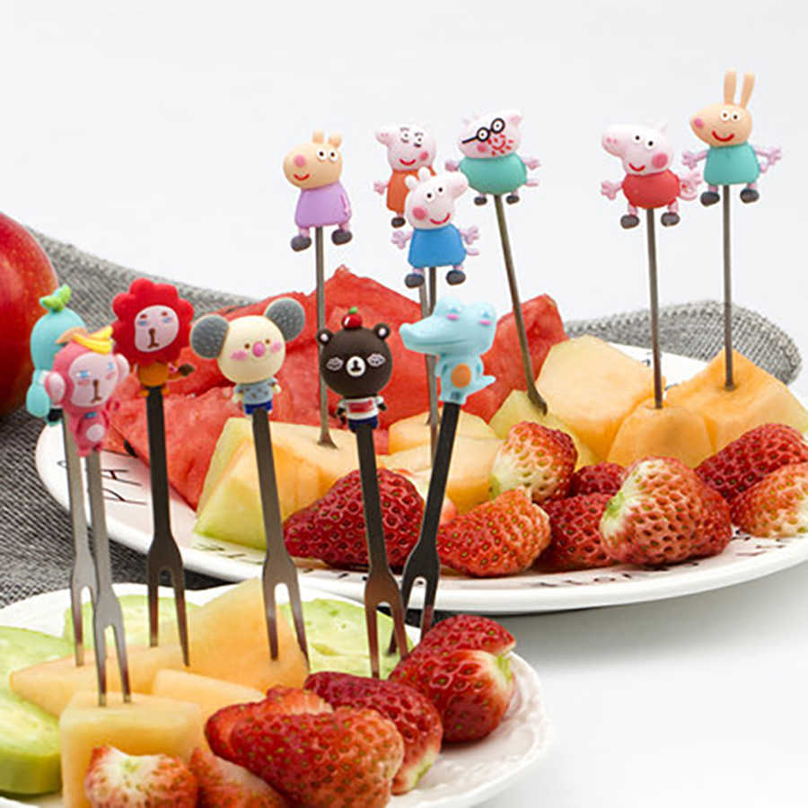 Ceramics Silicone Fork Spoon Cartoon Food Cute Kitchen Accessories Eco Friendly Petisco Tenedor Fruta Lunch Picks For Kids 647