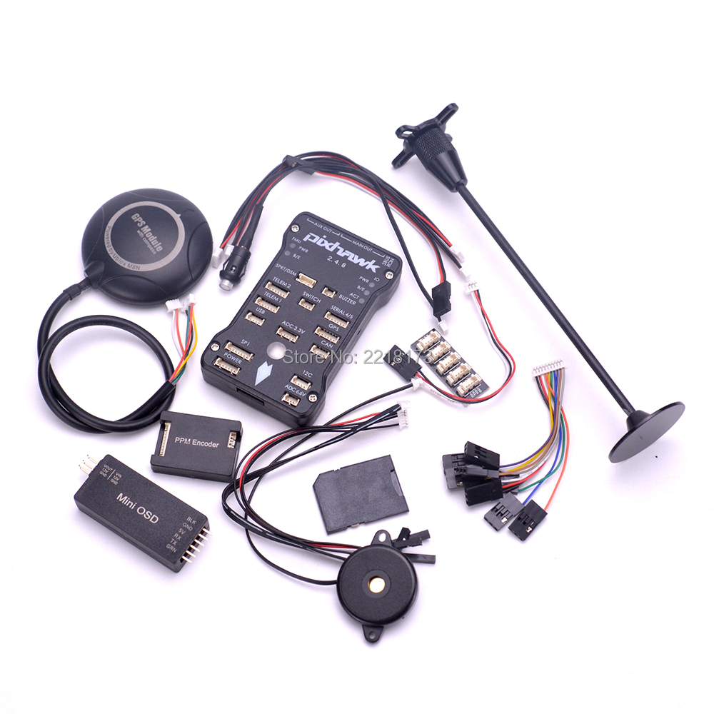 Pixhawk PX4 PIX 2.4.8 32 Bit controlador de vuelo M8N GPS Minim OSD interruptor de seguridad Buzzer PPM I2C para F450 s500 Quadcopter