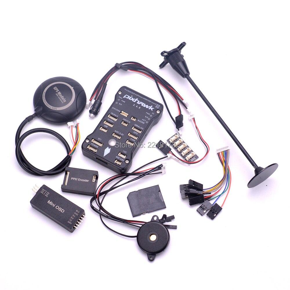 Pixhawk PX4 PIX 2.4.8 32 Bit Flug Controller board M8N GPS Minim OSD Sicherheit Schalter Summer PPM I2C Für F450 s500 Quadcopter