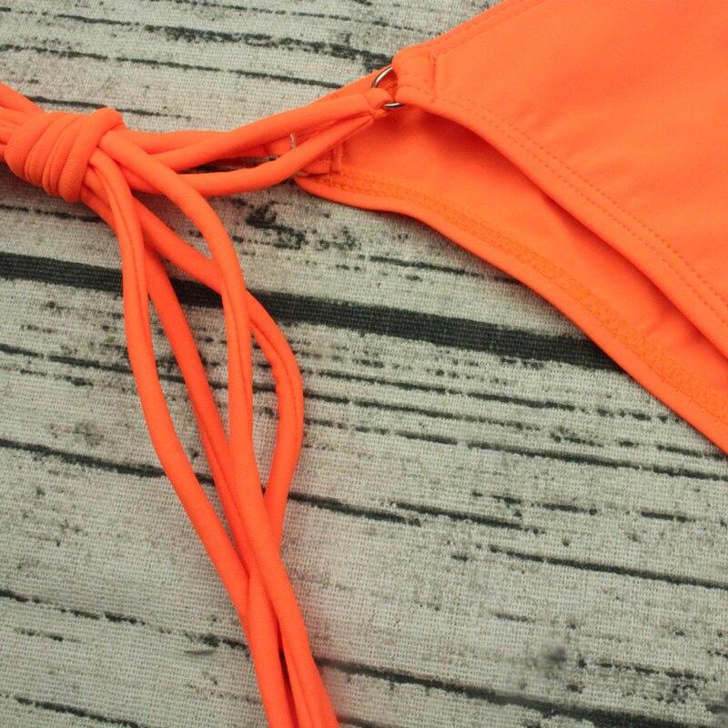 Bikini Swimwear Bathing Swimsuit Bikini Set - Thong Bottom Vintage Female Beachwear With Pad 4