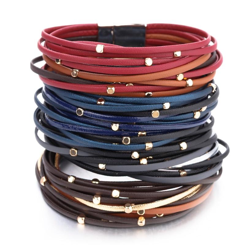 Flashbuy Multilayer Thin Strip Genuine Leather Bracelet Women Jewelry Female Bangles Charm Leather Multilayer Wrap Bracelets in Wrap Bracelets from Jewelry Accessories