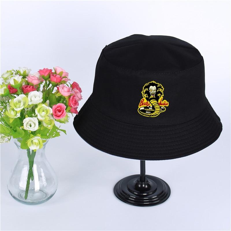 b8536e635 US $6.21 31% OFF|Karate Kid Cobra Kai Summer Hat Women Mens Panama Bucket  Hat Karate Kid Cobra Kai Design Flat Sun Visor Fishing Fisherman Hat-in ...