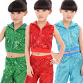 New Sequined Jazz Dance Hip hop Costumes Stage Performance Clothing Boys and Girls Holiday Show Children Stage Wear Tank +Pant
