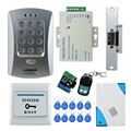 Free shipping full set door access control system kit V2000-C+ electric strike lock+power supply+exit button+bell+remote control