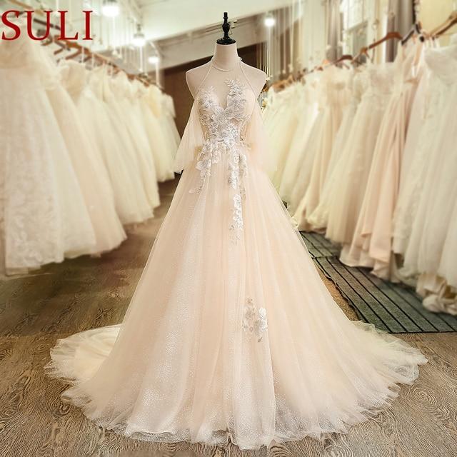 Sl 7001 Bohemian Puffy Short Sleeve Beads Bridal Wedding Dresses